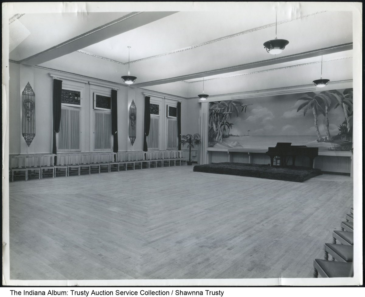 Interior of the Spencer Hotel Ballroom  Marion  Indiana  ca  1930     Interior of the Spencer Hotel Ballroom  Marion  Indiana  ca  1930   Written  on the back   Spencer Hotel Ballroom   Background picture  mural  by Lyle  Reith