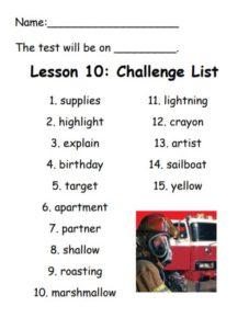Challenge Spelling List for Lesson 10: supplies, highlight, explain, birthday, target, apartment, partner, shallow, roasting, lightning, crayon, artist, sailboat, yellow