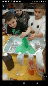 Students performing experiment