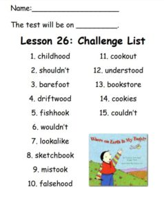 Challenge List for Lesson 26