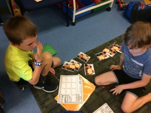 Students working in math stations