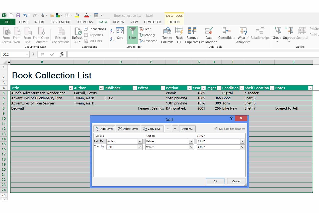 How Do I Use Microsoft Excel To Catalog Books