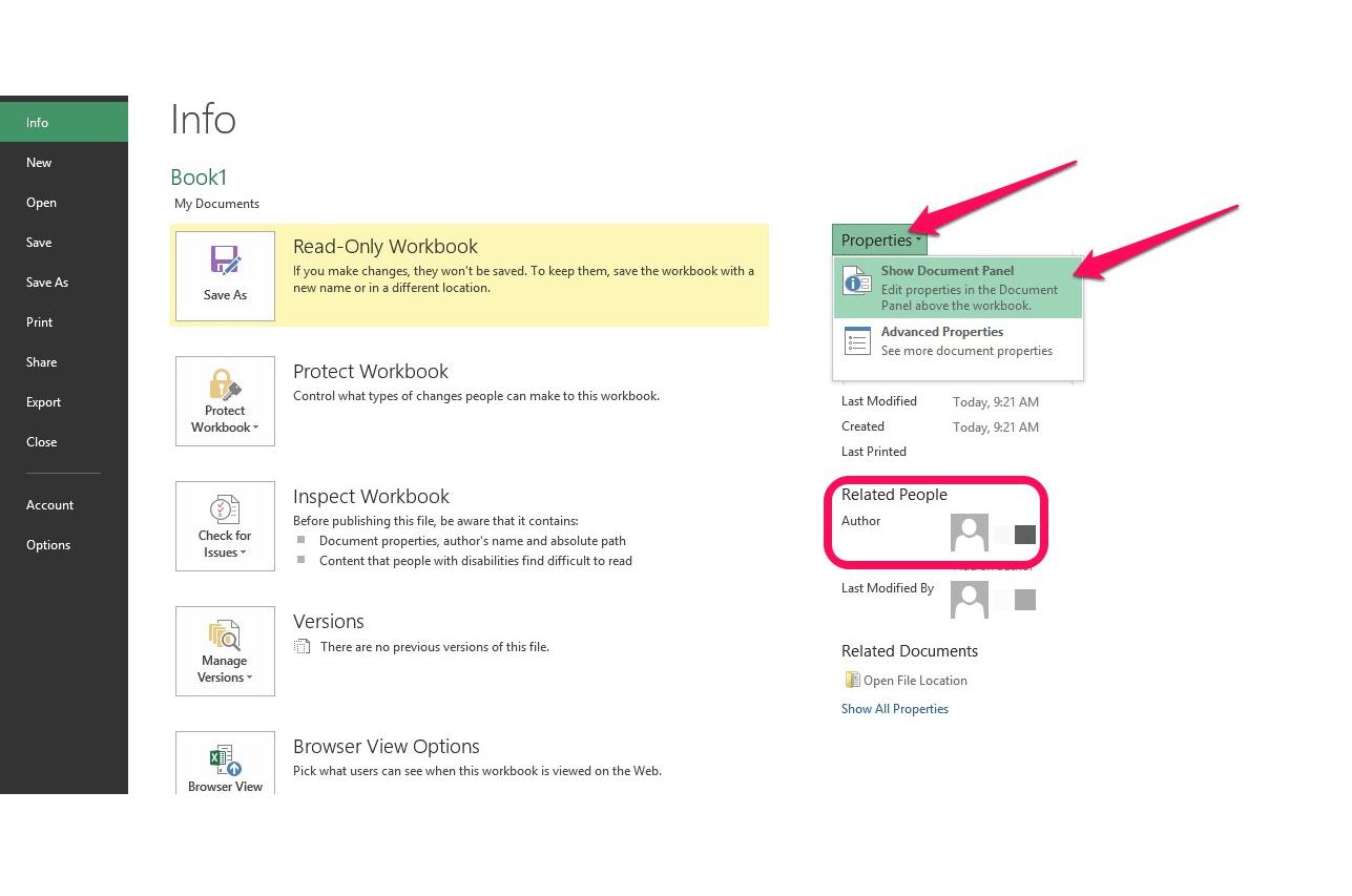 Excel Modify Document Properties