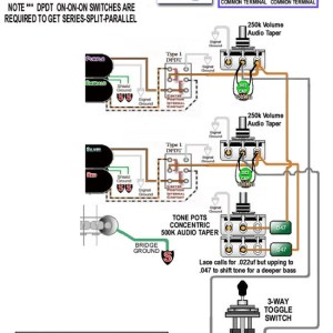 Brian Presley  Guitar  Wiring Diagram for LACE Dually 2V