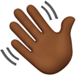 Waving Hand: Medium-Dark Skin Tone Emoji (U+1F44B, U+1F3FE)