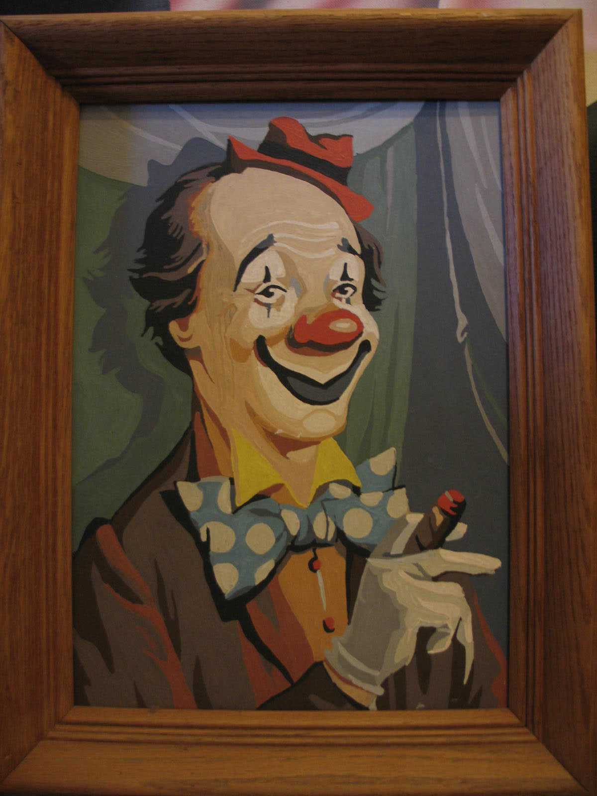 Vintage 60s Paint By Numbers Clown Painting Apartment