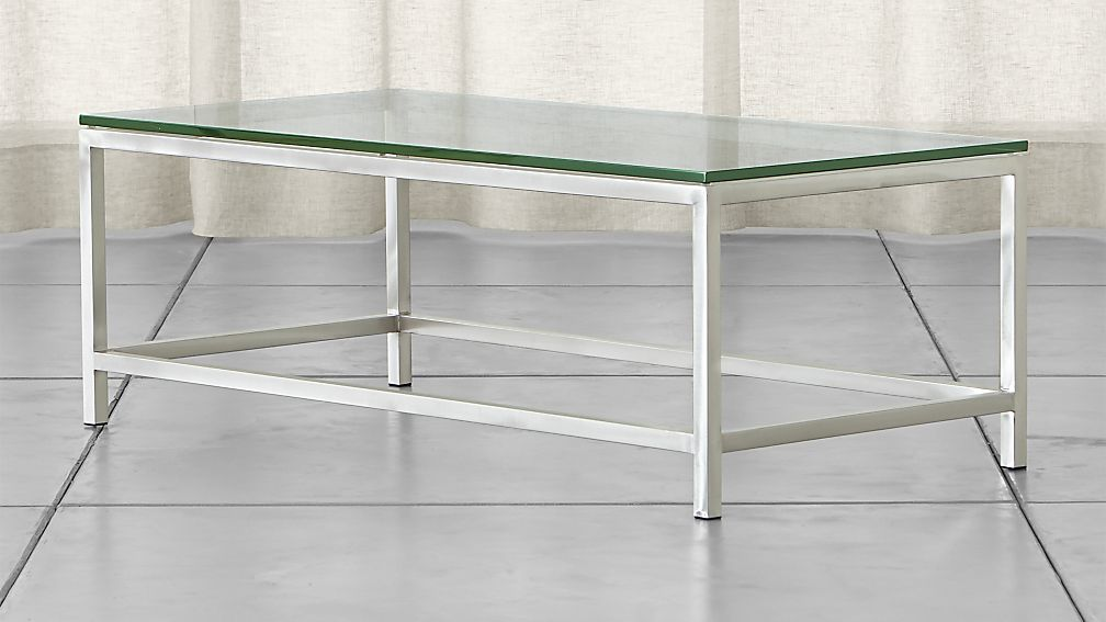crate barrel rectangular glass coffee table