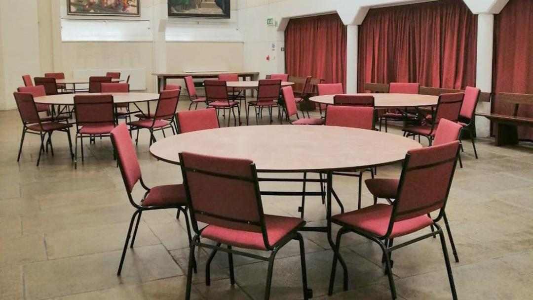 Newman Room Part 2 with Large Round Tables and Chairs