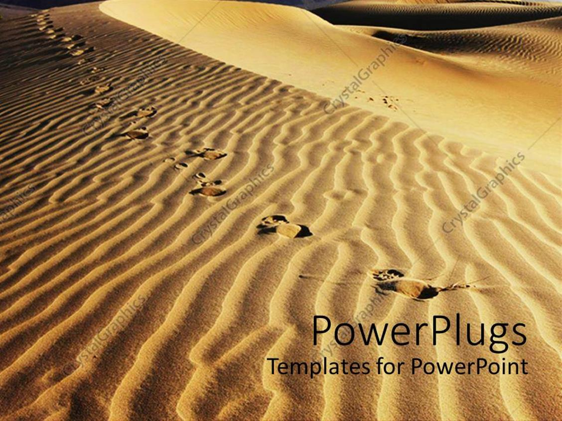 Powerpoint Template Footsteps On Sand Dunes Animal