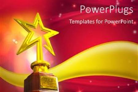 5000  Award PowerPoint Templates w  Award Themed Backgrounds Slide set enhanced with gold star trophy placed over a golden wave with  glowing stars and