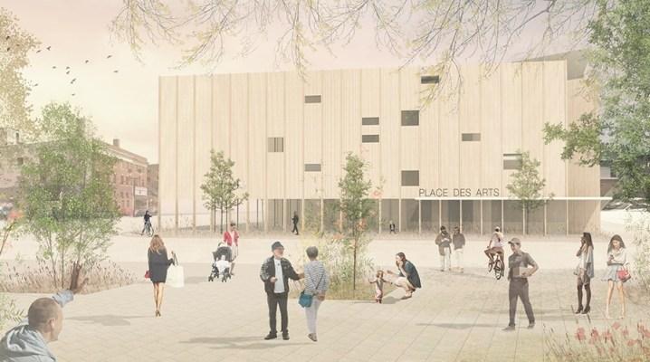 L'image montre un dessin du projet de la Place des arts de Subdury.