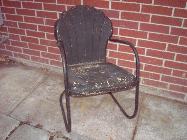 metal lawn porch chair press seashell back board retro patio furniture