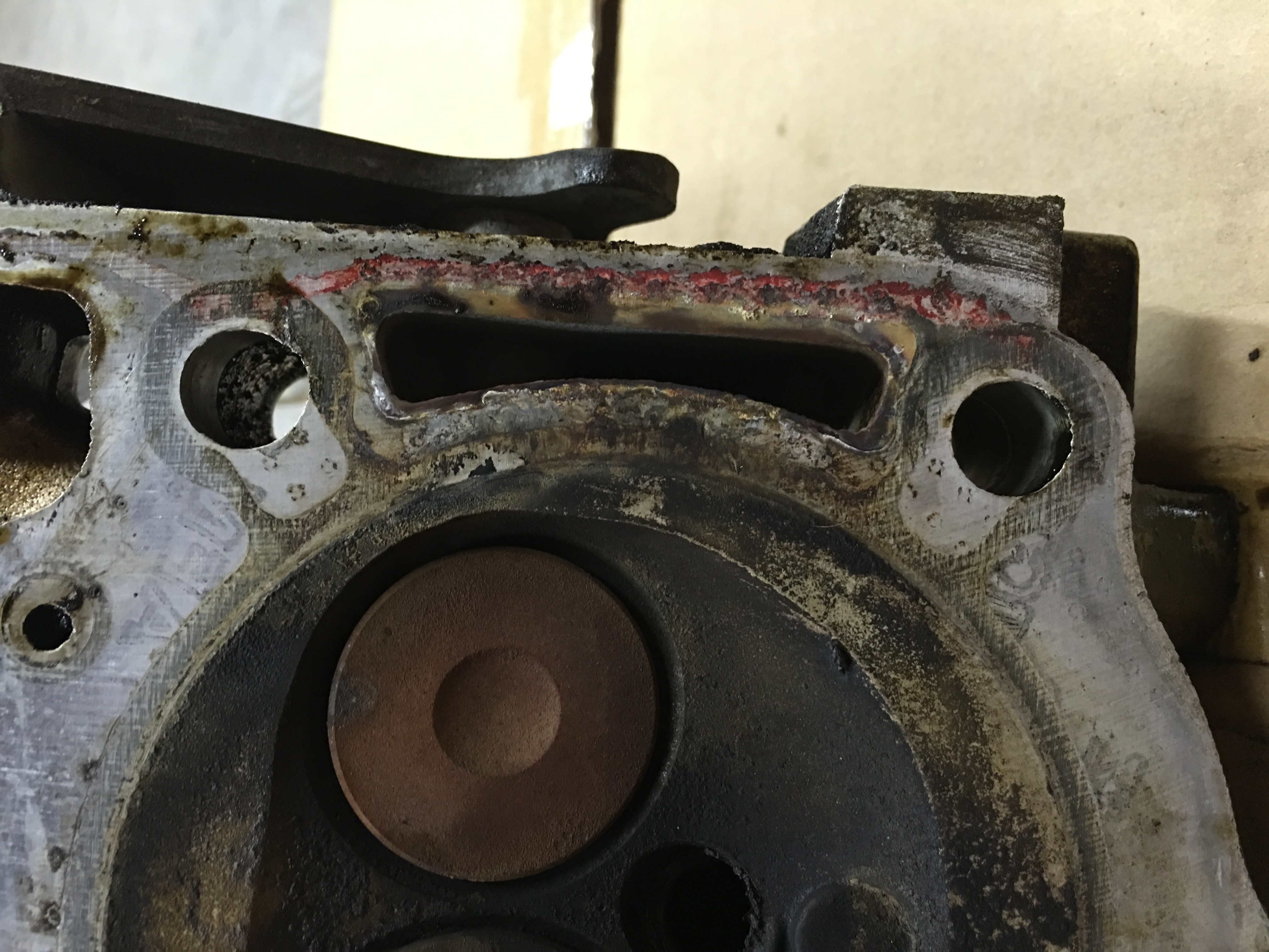 bustion gas in coolant head gasket or liner