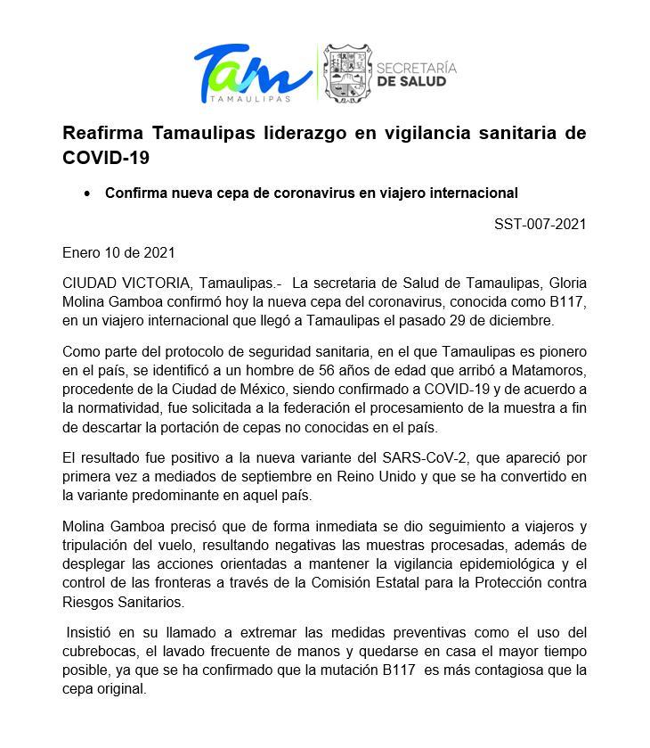 NUEVA CEPA DE COVID-19 LLEGA A MÉXICO, IDENTIFICAN PRIMER CASO EN  TAMAULIPAS - Sistema Mexiquense de Medios Públicos
