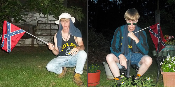 Dylann Roof with confederate flags