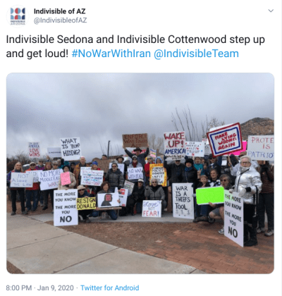alt text: tweet from indivisible az -- large group of indivisibles at a rally for #nowarwithiran on january 9th.