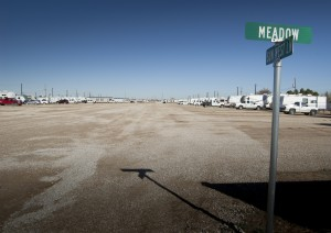 Sun West Mobile City, developed by Carlsbad Planning and Zoning Commissioner James Knott, is one of many temporary housing facilities that have sprung up as local housing filled to overflowing.
