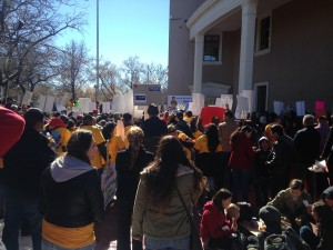 Protesters against repealing driver's licenses for undocumented immigrants  on February 2, 2015. Photo by Margaret Wright.