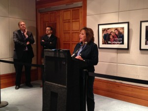 Flanked by members of her staff, Gov. Susana Martinez delivers statements to members of the press following the 2015 regular session of the state Legislature.  Photo Credit: Margaret Wright