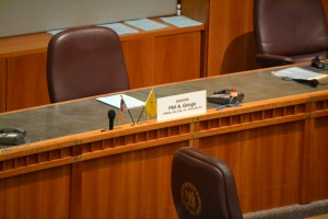 Senator Phil Griego's desk on March 14, 2015 after his resignation. Photo credit: Andy Lyman