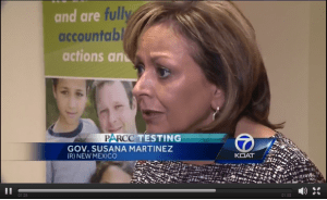 Screenshot of Susana Martinez in a KOAT story on PARCC testing.