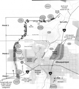 A map of projected West Side developments, including the full Paseo del Volcan extension.  Map from a handout at a West Side legislators meeting.