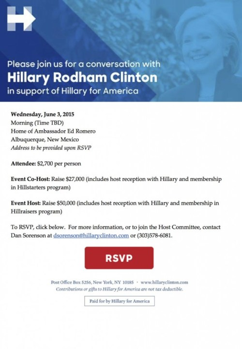 An  invite a fundraiser for the presidential campaign of Hillary Clinton.