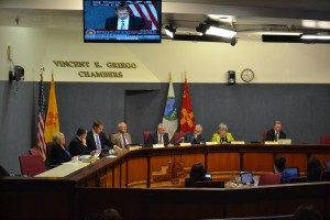 City council chambers during a city council hearing in May 2015. Photo Credit: Andy Lyman
