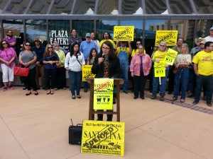Community advocates rally against Santolina before May 11 Bernalillo county commission meeting