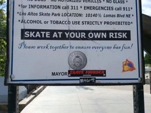A sign at Los Altos Skate Park. Photo Credit: Justice for Jaquise Lewis Facebook page