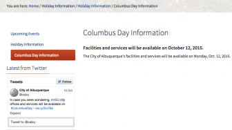 Screenshot from the city of Albuquerque website on the morning of 10/12/15.
