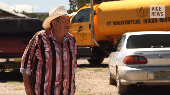Ben Lewis, a resident of the Navajo Nation. Screenshot from Vice News video.