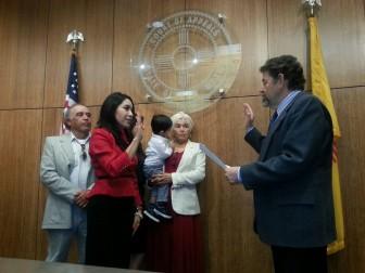 Idalia Lechuga-Tena's swearing in. From right to left: Ubaldo Lechuga, Idalia Lechuga-Tena, Celeste Lechuga-Tena, Sebastian Martinez Lechuga, Marta Tena de Lechuga, Judge Bustamante. Courtesy Photo