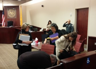 Cell phone photo of former Secretary of State Dianna Duran after a sentencing hearing on December 14.