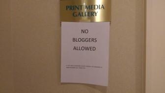 A sign outside the Senate press gallery.