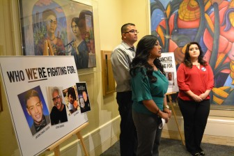 Parents of crime victims speaking to media in the State Capitol.