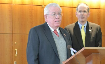 Sen. John Arthur Smith, D-Deming, at a press conference. Sen. Peter Wirth, D-Santa Fe, looks on.
