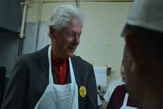 Bill Clinton at Tia Sophia's in Santa Fe.