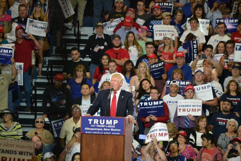 Donald Trump speaking at the Albuquerque Convention Center.