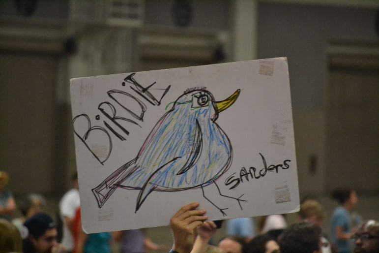 A sign at the Bernie Sanders rally at the Albuquerque Convention Center.