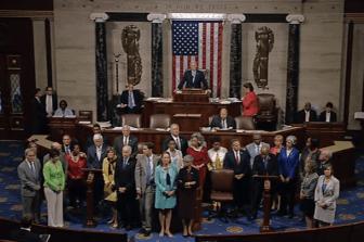 Screenshot of John Lewis speaking, calling for new gun legislation, on the House floor before a sit-in on June 22, 2016.
