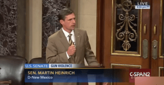 Sen. Martin Heinrich participates in gun control filibuster.