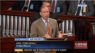 Sen. Tom Udall joins in gun control legislation filibuster.