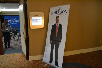 Johnson poster outside his campaign office