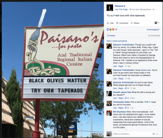 Paisano's sign led to outcry on Facebook