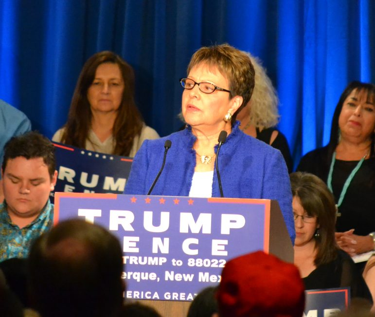 RNC Committeewoman Rosie Tripp speaking at a Mike Pence rally.