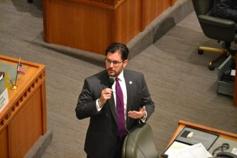 House Minority Leader Brian Egolf, D-Santa Fe, speaking on the floor during the 2016 special session.