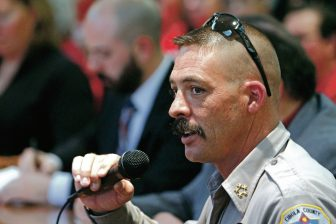 Cibola County Sheriff Tony Mace speaks Tuesday in opposition to expanded background checks for gun sales.