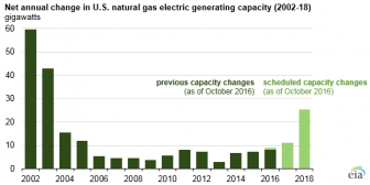 Net annual change in U.S. natural gas electric generating capacity (2002-2018)