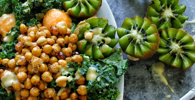 Vegan Sweet Caesar Salad with Roasted Chickpeas